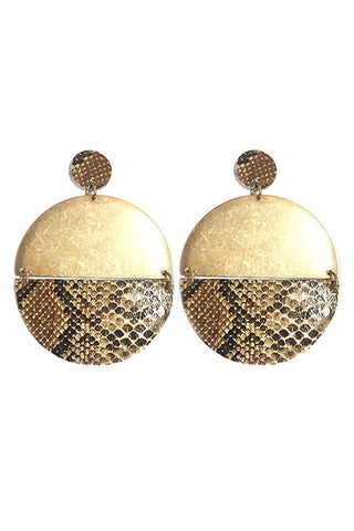 Python Leather Drop Post Earrings