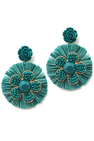 Raffia Fan Tassel Post Earrings
