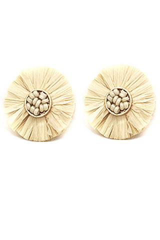 (3PCS) Raffia Fan Tassel Post Earrings