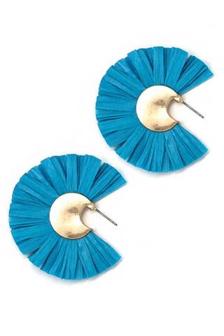 (6PCS) Raffia Fan Post Earrings