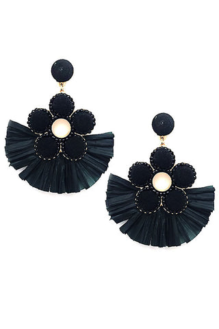 (6PCS) Raffia Tassel Post Earrings