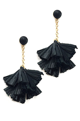 Raffia Tassel Drop Post Earrings