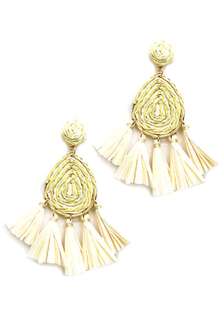 (2PCS) Tassel Raffia Post Earrings