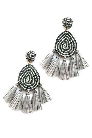 (6PCS) Tassel Raffia Post Earrings