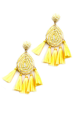 (4PCS) Tassel Raffia Post Earrings