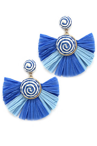 Raffia Fan Shaped Post Earrings