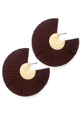 Abstract Cut Leather Post Earrings