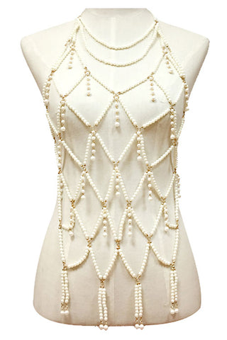Long Multi Layered Pearl Body Chain