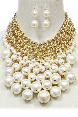 Pearl Chunky Style Choker Necklace