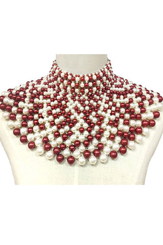 Pearl Chunky Choker Necklace Set