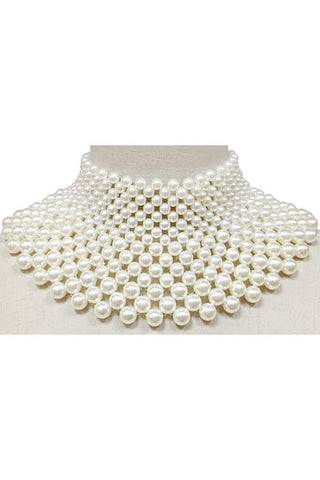 (3PCS) Pearl Bib Necklace Set