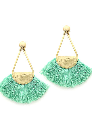Metal Tassel Drop Post Earrings