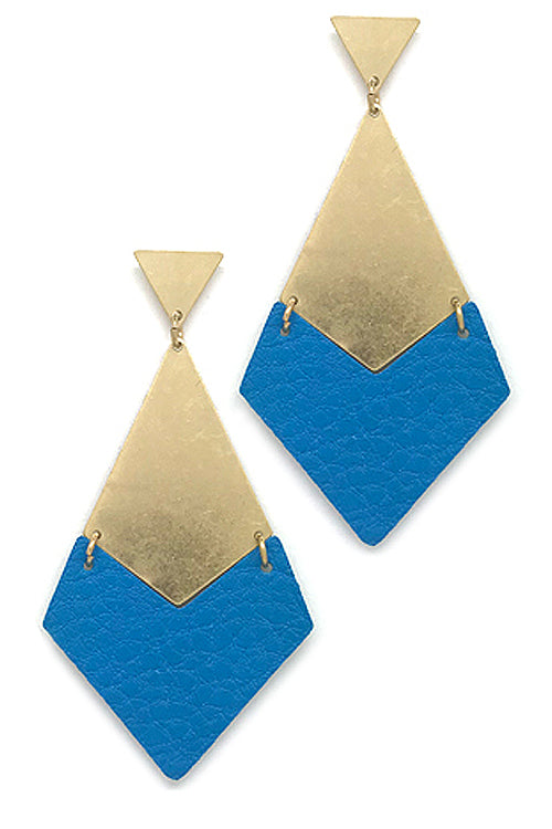 Faux Leather Drop Metal Post Earrings