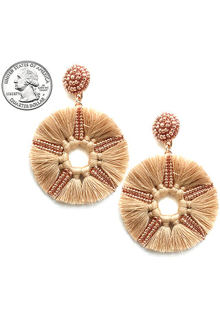 Round Tassel Post Earrings