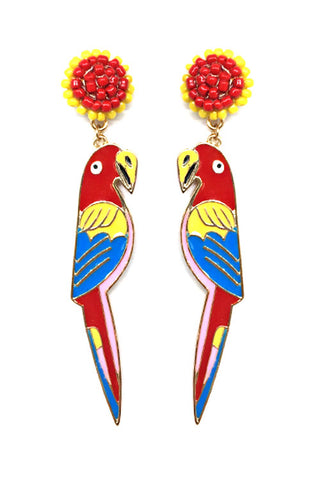 (3PCS) Seed Bead Parrot Bird Post Earrings