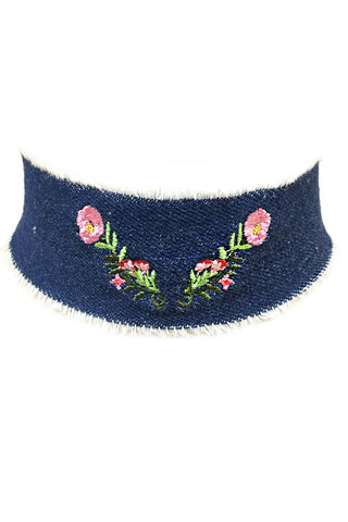 Flower Embroidered Denim Choker Set