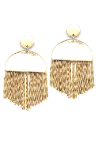 ((6PCS)) Metal Chain Tassel Post Earrings