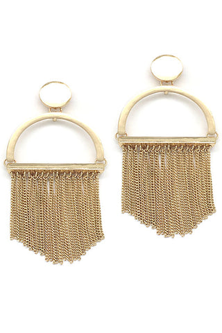Metal Chain Tassel Post Earrings