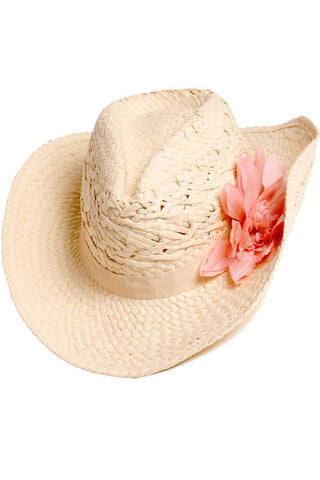 Paper Woven Hat with Flower