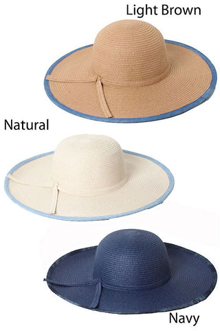 Washed Chambray Fabric Straw Hat