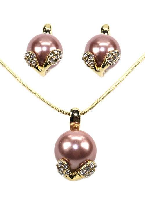 (3PCS) Bulb Rhinestone-Pearl Jewelry Set