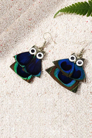 Owl Drop Hook Earrings