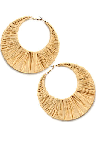 Raffia Wrapped C Hoop Earrings