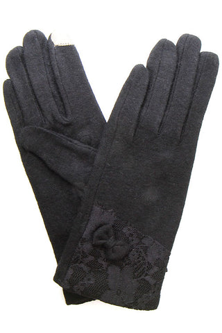 (3PCS) Lace and Bow Trim Tech Touch Glove