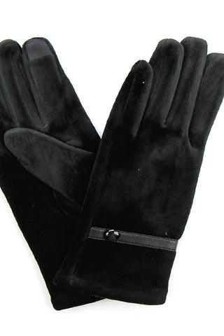 Solid Glove with One Button Trim