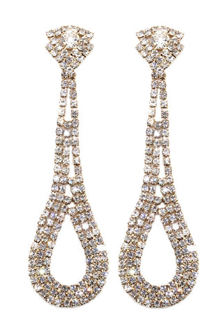 Rhinestone Teardrop Loop Post Earrings