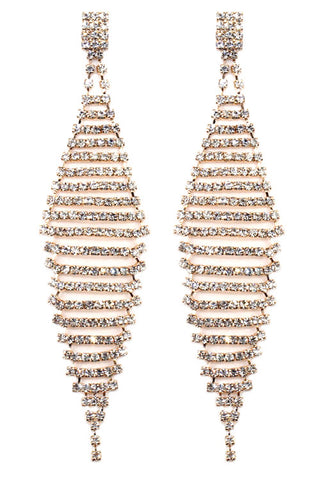 Ribbed Diamond Shaped Drop Post Earrings