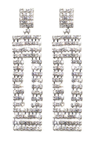 Rectangular Rhinestone Drop Post Earrings
