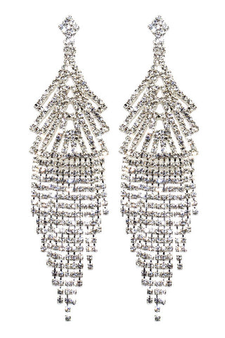 Rhinestone Tassel Post Earrings