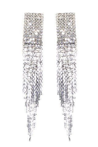 Multi-Lined Rhinestone Tassel Post Earrings