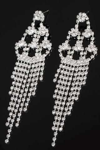 Rhinestone Chandelier Tassel Post Earrings