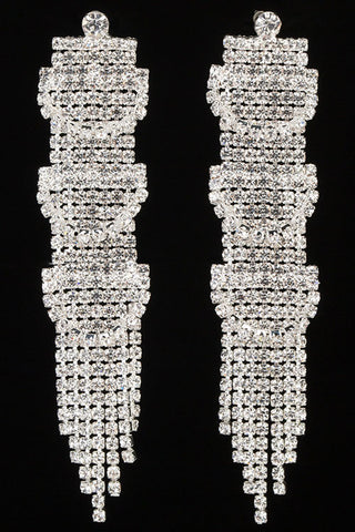 Rhinestone Fringe Post Earrings