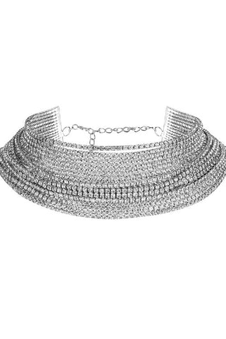 20-String Rhinestone Choker Necklace