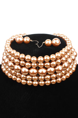 5 Layer Pearl Choker Necklace Set