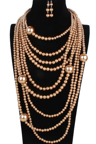 Multi-Layered Pearl Necklace Set