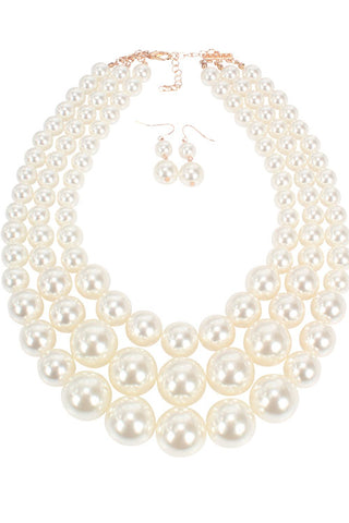 3-Layer Pearl Necklace Set