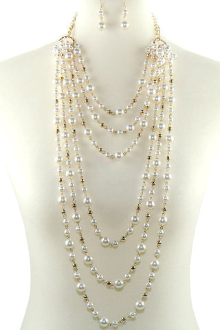 Multi Layer Pearl Necklace Set