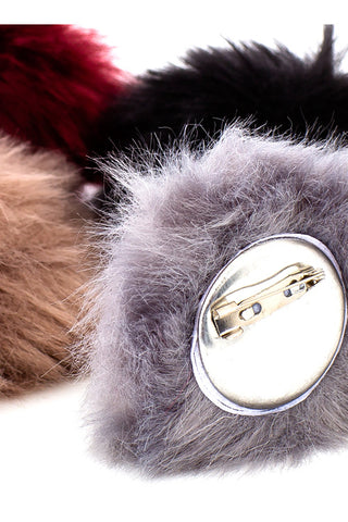 (12pcs in pack) Fur Pom-Pom Brooch