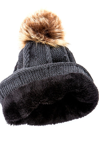 (12pcs in pack)Fur Lined Pom Pom Beanies Hat