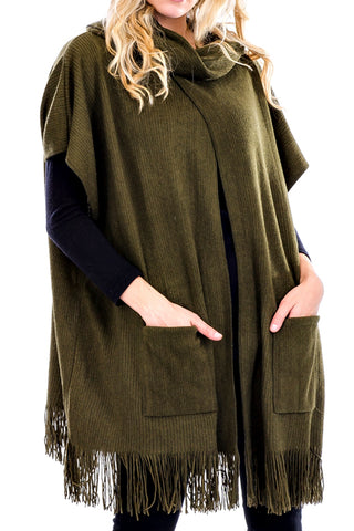 Cuffed Neck Pocketed Poncho Cape