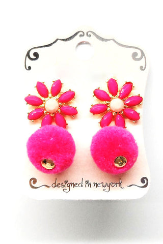 (2PCS) Fur Ball Post Earrings