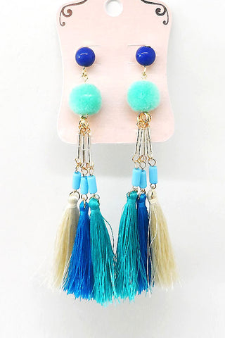 Pom Tassel Earrings