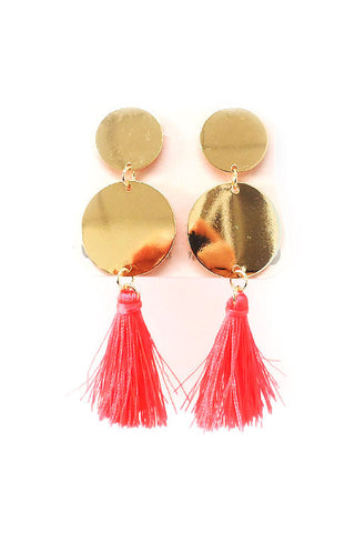 (3PPCS) Metal With Tassel Earrings