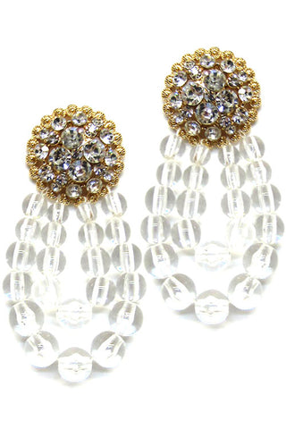 (3PCS) Clear Ball Drop Post Earrings