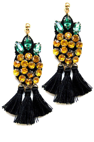 Pineapple w Tassel Post Earrings