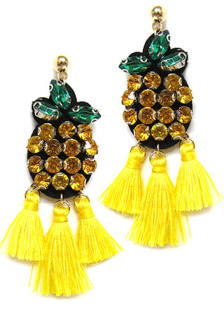 (6PCS) Pineapple w Tassel Post Earrings